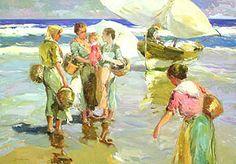 Giner Bueno, Spanish Impressionist Painter -- Esperando La Pescada --- Very Lovely