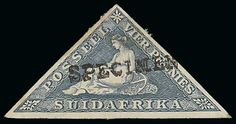 "South Africa,- 4d Grey-blue, Afrikaans inscription, handstamped ""SPECIMEN"" (Samuel type BEC 2), applied in Bechuanaland to specimen stamps received from the U.P.U. No gum and a little stained but a unique specimen stamp. Photo on Page 109. £300-350    Dealer  Argyll Etkin    Auction  Minimum Bid:  255.00 GBP"