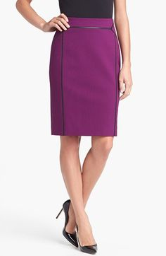 Classiques Entier® 'Sunmosa' Leather Trim Ponte Skirt available at #Nordstrom