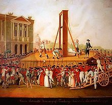 "On the same day, her hair was cut off and she was driven through Paris in an open cart wearing a plain white dress. At 12:15 p.m., two and a half weeks before her thirty-eighth birthday, she was beheaded at the Place de la Révolution (present-day Place de la Concorde).[Her last words were ""Pardon me sir, I meant not to do it"" to Henri Sanson the executioner whose foot she had accidentally stepped on after climbing the scaffold. Her body was thrown into an unmarked grave in the Madelrinr…"
