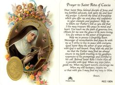 Saint Rita of Cascia Catholic Prayer Card Prayer To St Rita, Daily Prayer, Novena Prayers, Catholic Prayers, Catholic Saints, Catholic Traditions, Catholic Beliefs, Angel Prayers, Patron Saints