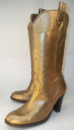 6b71d37b9cc Nine West Womens US7 Tall Boots Gold metallic Leather western country  Rockabilly