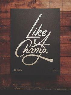Like a Champ. Limited Edition screen print, edition of 50, from Neuarmy Surplus Co. @Ryan Sullivan Sullivan Katrina