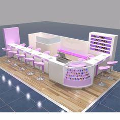 Stand Nail Salon Design, Nail Salon Decor, Beauty Salon Decor, Beauty Salon Design, Salon Interior Design, Kiosk Design, Spa Design, Store Design, Kids Salon