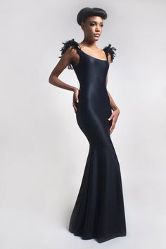 Feather Evening Dress - $555 by ELISA MALEC |  The elegant Evening dress is adorned with precious feathers on the shoulders.  This dress fits perfect becouse of the double-layerd jersey Material that adapt exactly  the silhouette. | #Dresses