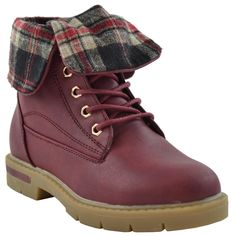 Kids Dallas-12K Ankle Boots Lace up Lug Sole Fold Over Cuff Shoes Tan