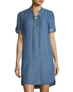 ef234a1664c Chelsea   Theodore Tabbed-Sleeve Lace-Up Chambray Dress