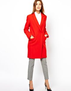 French connection belle boucle red wool coat