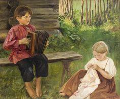 """Wendla """"Venny"""" Irene Soldan-Brofeldt (1863-1945) PLAYING CHILDREN - LEIKKIVIÄ LAPSIA - Finland"""