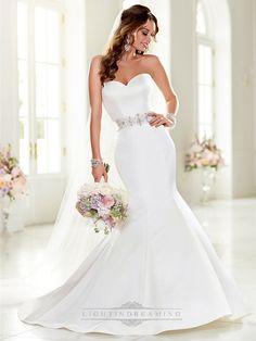 Strapless Sweetheart Mermaid Wedding Dresses with Beading Waist - LightIndreaming