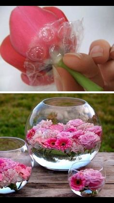 Use bubble wrap to help flowers float. Flowers naturally float but when there are too many, some will sink. This might help.