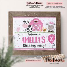 INSTANT DOWNLOAD - EDITABLE Girl Barnyard Birthday Welcome sign Farm Animals centerpiece - Barnyard decoration Pink barnyard door sign