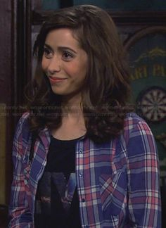 "The Mother's blue and pink plaid shirt and ""LIVE"" tee on How I Met Your Mother.  Outfit Details: http://wornontv.net/26429/ #HowIMetYourMother"
