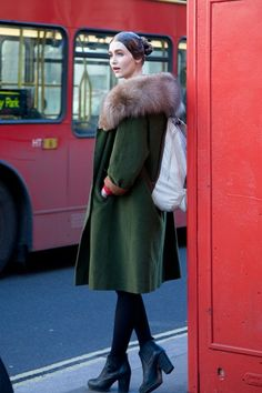 Eve Delf, model  -vintage coat with a Zara
