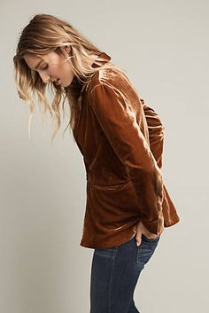 Designer Clothes, Shoes & Bags for Women Velvet Shoes, Velvet Blazer, Velvet Jacket, Brown Blazer, Brown Jacket, Casual Trends, Anthropologie Clothing, Fashion And Beauty Tips, Blazer Outfits