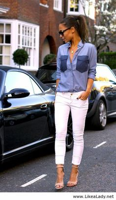 White jeans and denim
