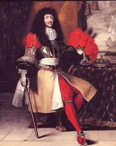 Four hundred years ago in Century France, red was a color of power, long associated with palaces and the excess of Versailles. Louis XIV, who was apparently very proud of his manly pins, donned many a silk red stocking and scarlet heels too Louis Xiv, Versailles, French History, European History, British History, Ludwig Xiv, French Royalty, Cultura General, French School