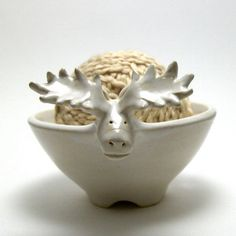 Moose Shaped Ceramic Yarn Bowl click now for info. Pottery Animals, Ceramic Animals, Clay Animals, Ceramic Clay, Ceramic Bowls, Ceramic Pottery, Stoneware, Pottery Sculpture, Yarn Bowl