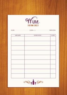 Have a blind wine tasting party free wine score card for Wine tasting sheet template
