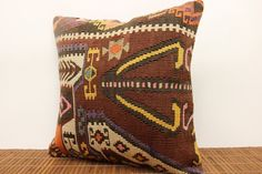Fast Shipping 16 x 16 Traditional Kilim pillow by kilimwarehouse, $48.00