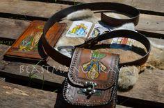 Tarot Card Design  Leather Belt Pouch by BeastmanCaravan on Etsy