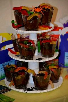 Dirt cups for my sons Bug Birthday Party
