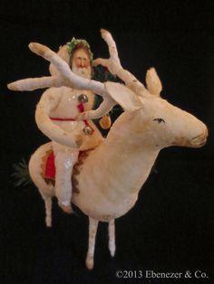 Reproduction German Style Spun Cotton Santa Claus Riding a Reindeer