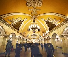 Komsomolskaya Station - it is the ceiling of a subway station.  This is the right idea!