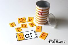 Make your own word family cans using pringles cans!