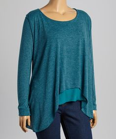 Look what I found on #zulily! Heather Blue Sidetail Top - Plus by Rising International #zulilyfinds