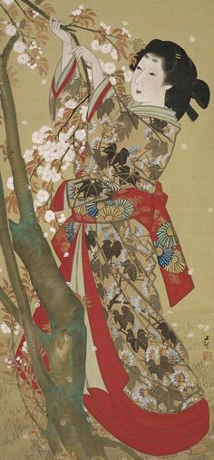 Picking cherry blossoms.  Main detail of a hanging scroll; ink and color on silk, 1830-40, Japan, by artist Mihata Joryu. MFA