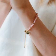 """So Pretty Cara Cotter TM on Instagram: """"✨Almost sold out!✨Our newest ICONIC beaded bracelet with scattered gold nuggets along the length and paired with pink opal is a big hit!…"""" Pink Opal, Opal Gemstone, Semi Precious Gemstones, Friendship Bracelets, Bangle Bracelets, Box Chain, Gold, Blush, Delicate"""