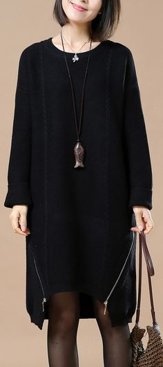 9da1abfe195 boutique black sweater dresses spring fashion spring dresses asymmetrical  sweater side zipper Black Sweater Dress