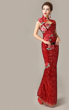 Embroidered peony floral red sequins long cheongsam   Modern Qipao