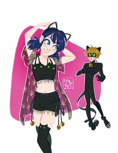 "lilyvzs: "" Marinette wearing a Chat Noir inspired outfit! @miraculous-zag @officialmiraculousladybug @notthomasastruc @ladybeug """