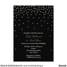 Black & Gold Foil Dots Modern Wedding Invitation