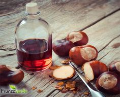 Chestnuts, knife and bottle with tincture on wooden table, herbal medicine Beautiful Soup, Herbal Medicine, Creme, Herbalism, Healthy Lifestyle, Stuffed Mushrooms, Homemade, Food, Abstract Photography