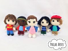 Stranger Things Amigurumi Pattern PDF by philae artes. Eleven, Michael Mike, Lucas, Dustin and Will. Crochet toy doll.