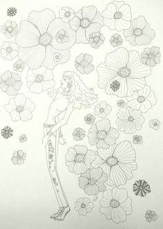 Illustration mit Blumen