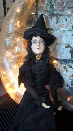 Anita All Hallows' Eve Witch Boudoir/Bed Doll With Glass Eyes /Antique,Vintage
