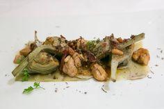 Alcachofas, mollejas, piñones y trufas - Menú Tapas y Trufas