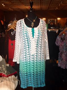 This crochet, ombre tunic is so versatile: it can go seamlessly from beach to street depending on what you pair it with! Sz: S-XL $72