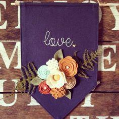 Canvas banner hand stitched banner felt flower by TealandOrange: