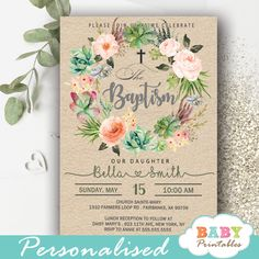 Beautiful hand painted floral wreath succulent baptism invitations to celebrate your little girl's christening. The baptism invitations feature the cross in Christening Giveaways, Baptismal Giveaways, Personalized Invitations, Printable Invitations, Invitation Cards, Girl Christening, Baby Christening, Christening Invitations Girl, Pink Roses