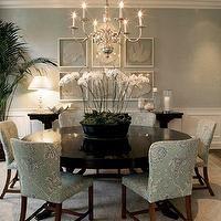 Adam Hunter Inc - dining rooms - seafoam green, seafoam green dining room, seafoam green grasscloth, grasscloth wallpaper, seafoam green gra...
