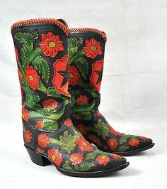 Rocketbuster Black Red Green Floral Tooled Leather Western Cowboy Boots USA