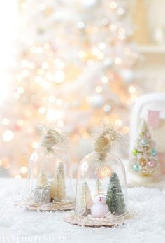 Make your own ornament with a plastic cloche. This easy project can be enjoyed by your whole family! It is simple and can be personalized with Christmas figurines, trees and more. Easy Christmas Ornaments, Country Christmas Decorations, Christmas Figurines, Homemade Christmas, Simple Christmas, Christmas Crafts, Christmas Ideas, Christmas Wishes, Fun Arts And Crafts