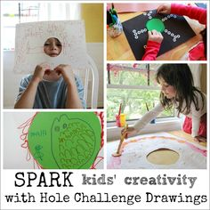 Creative Art Ideas for Kids -- Hole challenge drawings and paintings... What a great way to spark creativity!