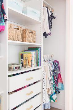 Girls room organization diy closet makeovers Ideas for 2019 Deep Closet, Kid Closet, Closet Ideas, Girls Room Organization, Bathroom Organization, Ikea Closet Organizer, Closet Makeovers, Kids Rooms, Create