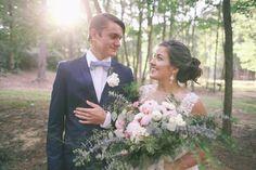 Blue Gingham Bow Tie for the Groom.  The Good South Weddings.  Groomsmen, bride, wedding.